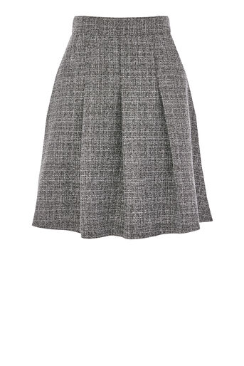 Warehouse, TEXTURED SKATER SKIRT Dark Grey 0