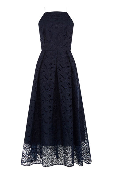 Warehouse, STRAPPY LACE MIDI DRESS Navy 0