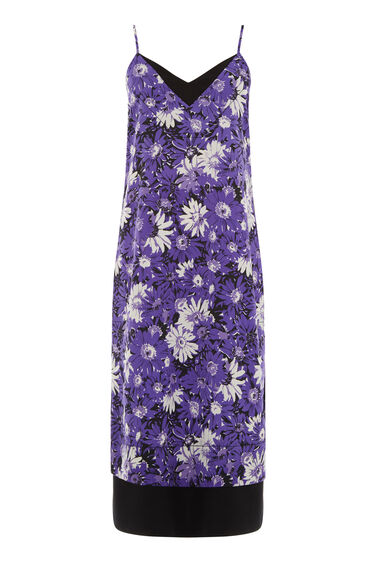 Warehouse, ASTER FLORAL SLIP DRESS Purple Pattern 0