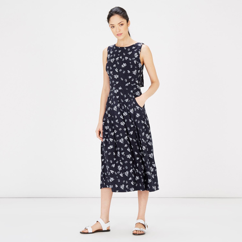 Warehouse, Leaf Print Midi Dress Blue Pattern 1