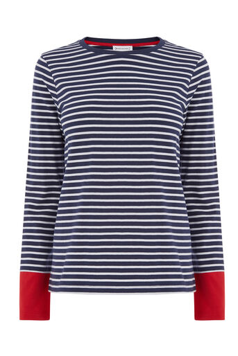 Warehouse, CONTRAST CUFF STRIPE TOP Blue Stripe 0