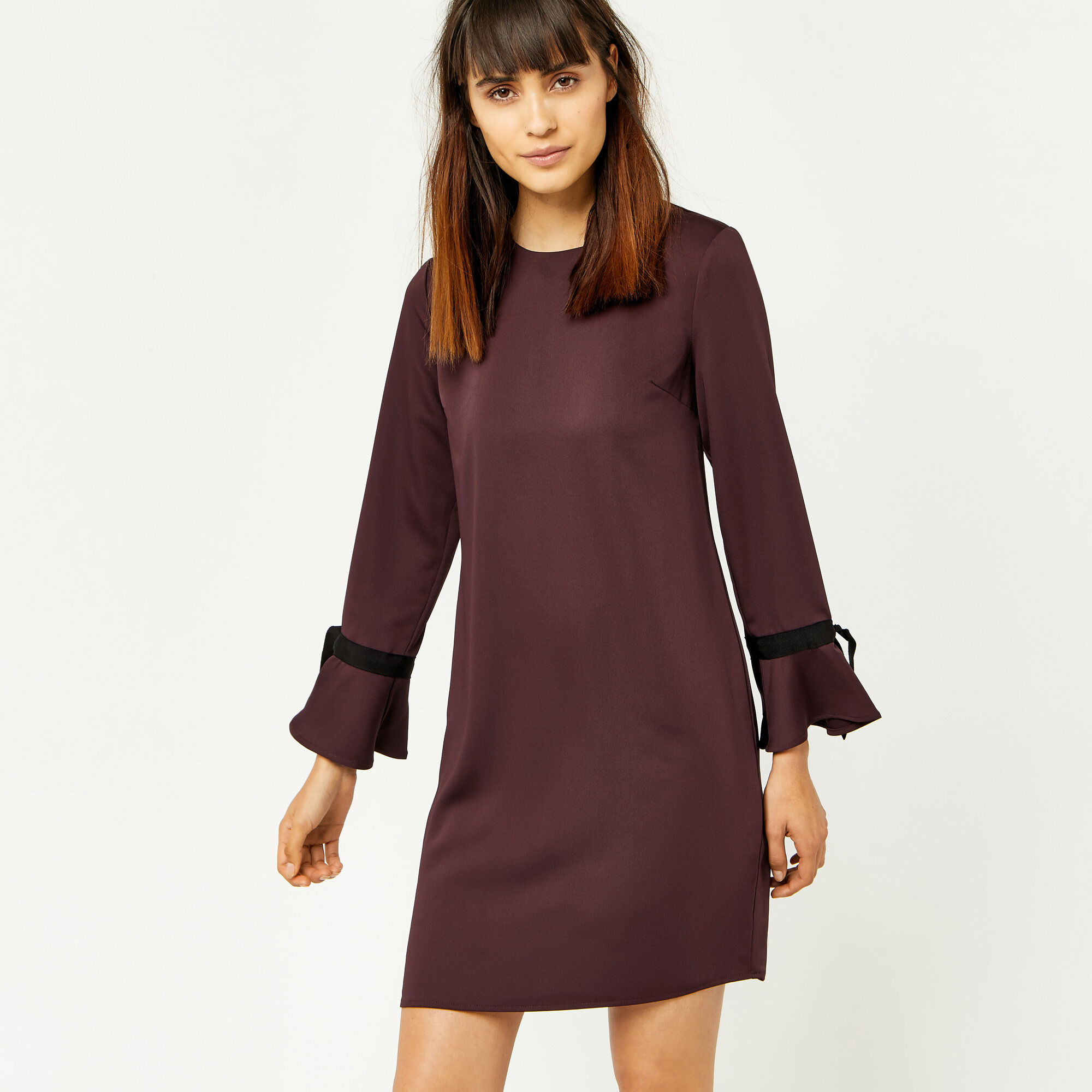 Warehouse, GROSGRAIN TIE CUFF DRESS Berry 1