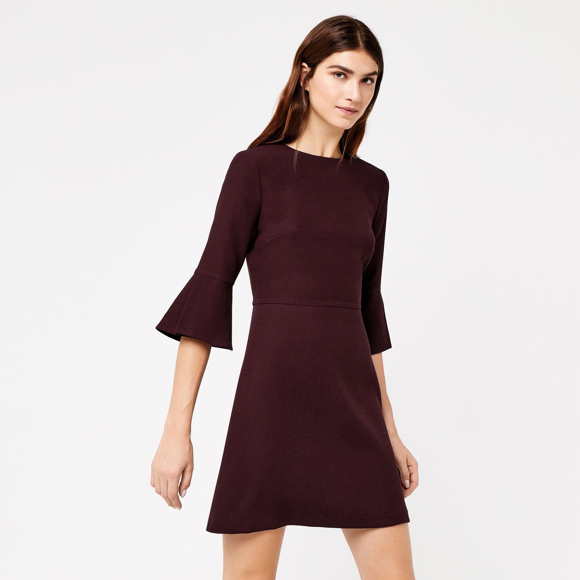 Warehouse, FLUTE SLEEVE DRESS Plum 1