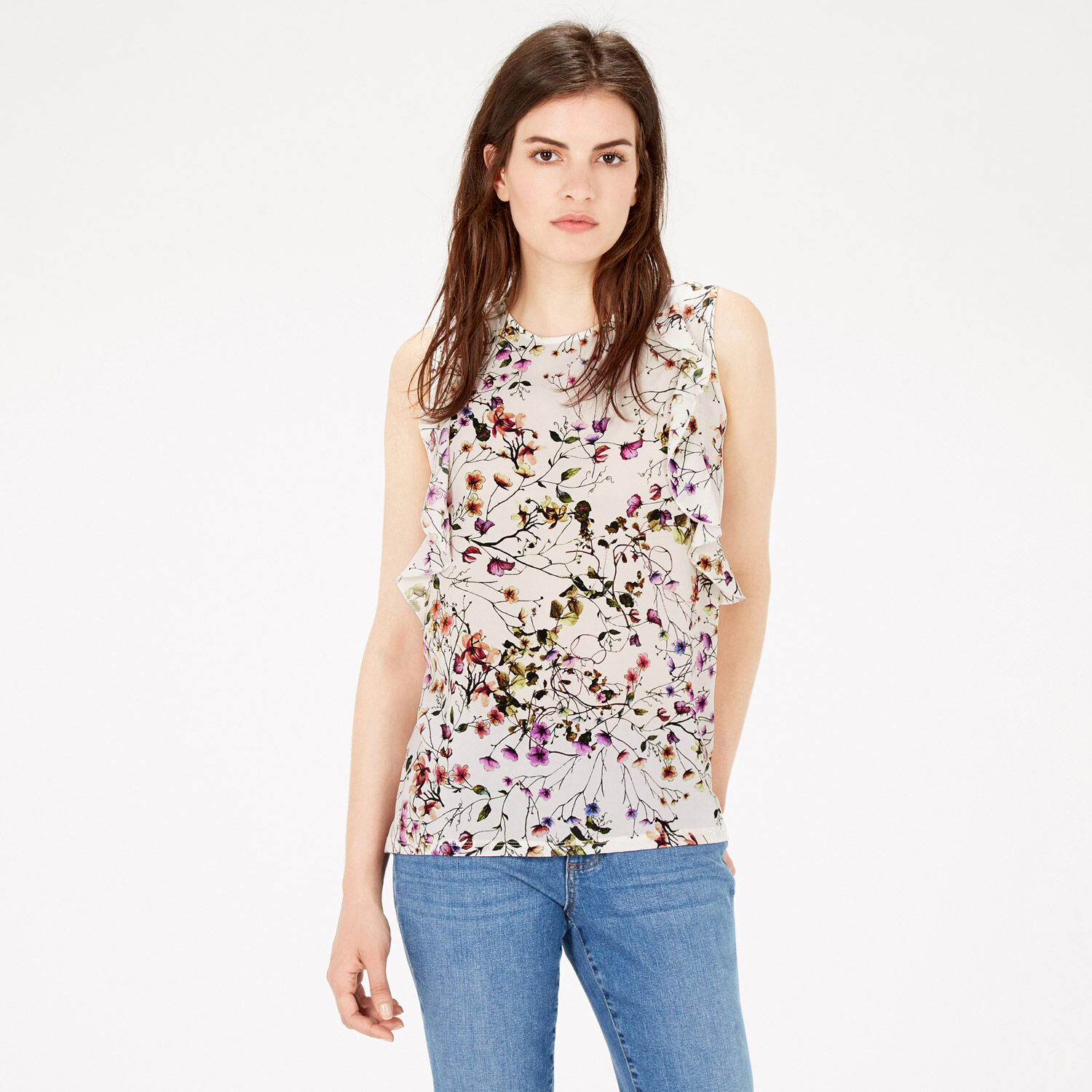 Warehouse, TRAILING FLORAL RUFFLE TOP Multi 1