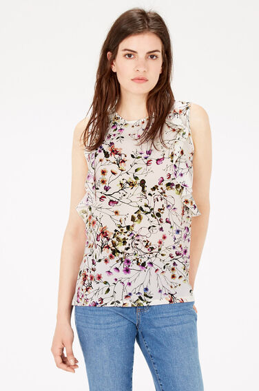 Warehouse, TRAILING FLORAL RUFFLE TOP Multi 0