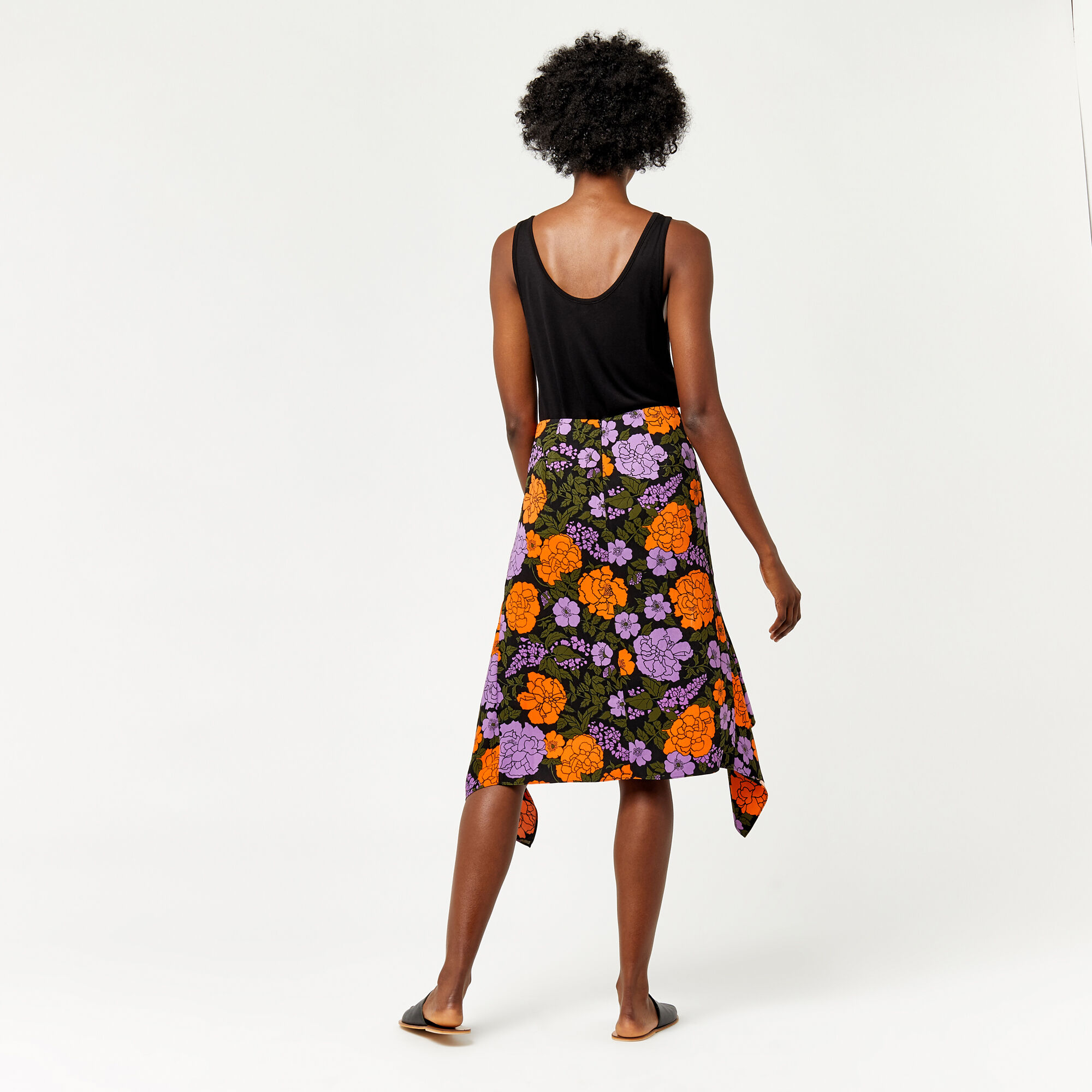 Warehouse, MICA CARNATION SKIRT Orange 1