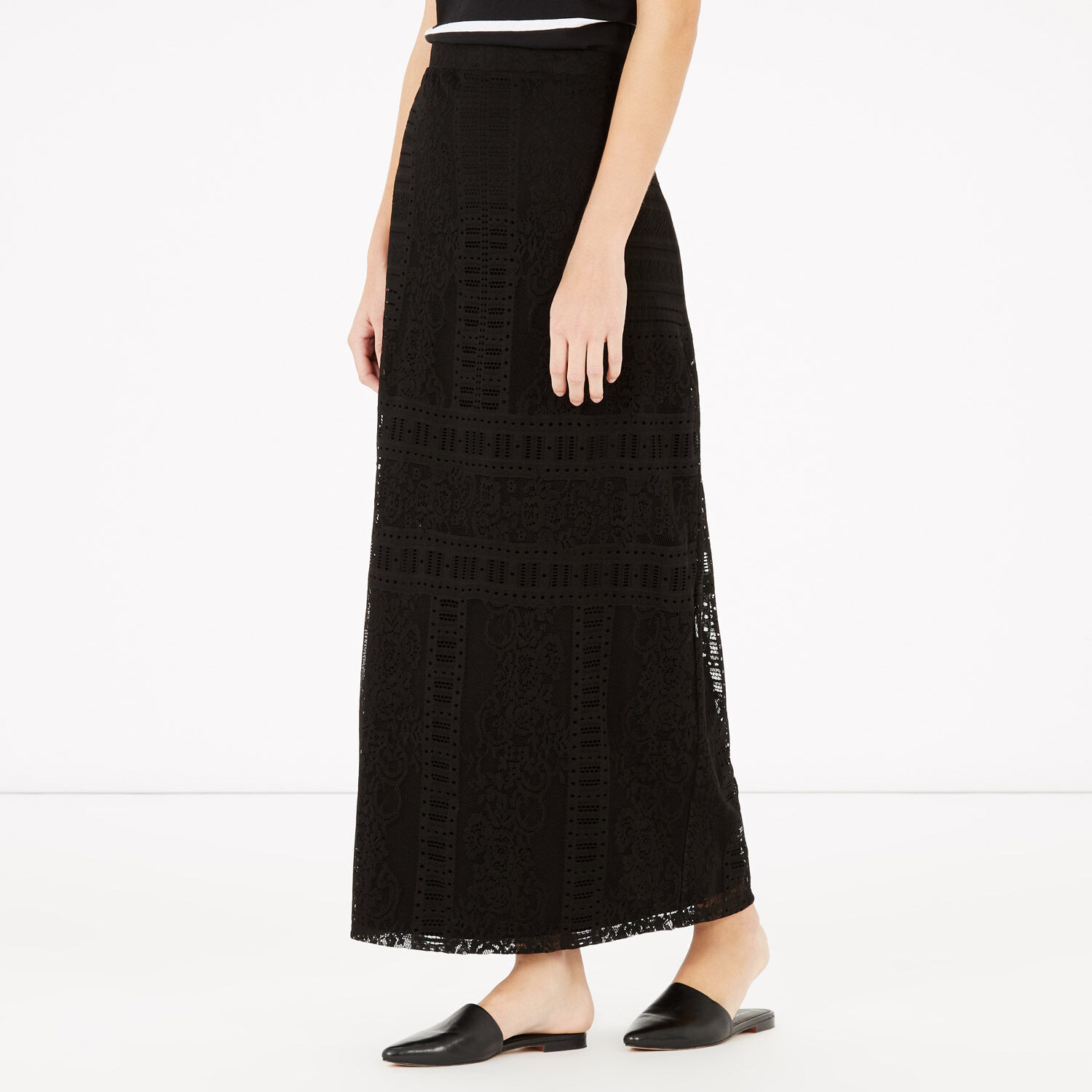 Warehouse, VICTORIANA LACE MAXI SKIRT Black 1