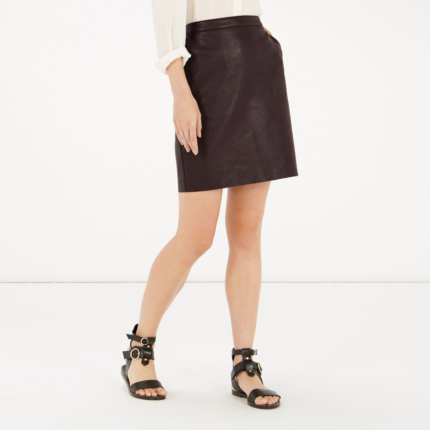 Warehouse, Faux Leather Clean Skirt Dark Red 1