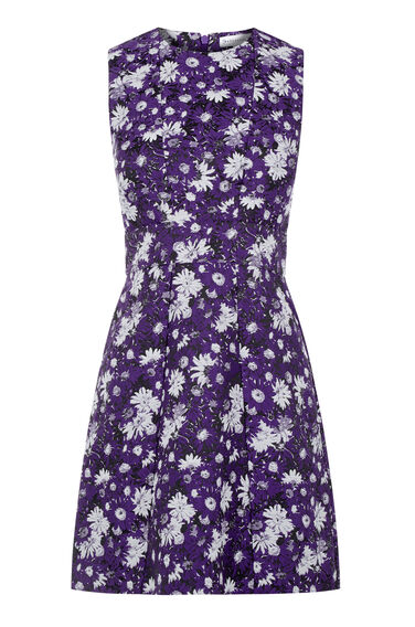 Warehouse, ASTER FLORAL JACQUARD DRESS Purple Pattern 0