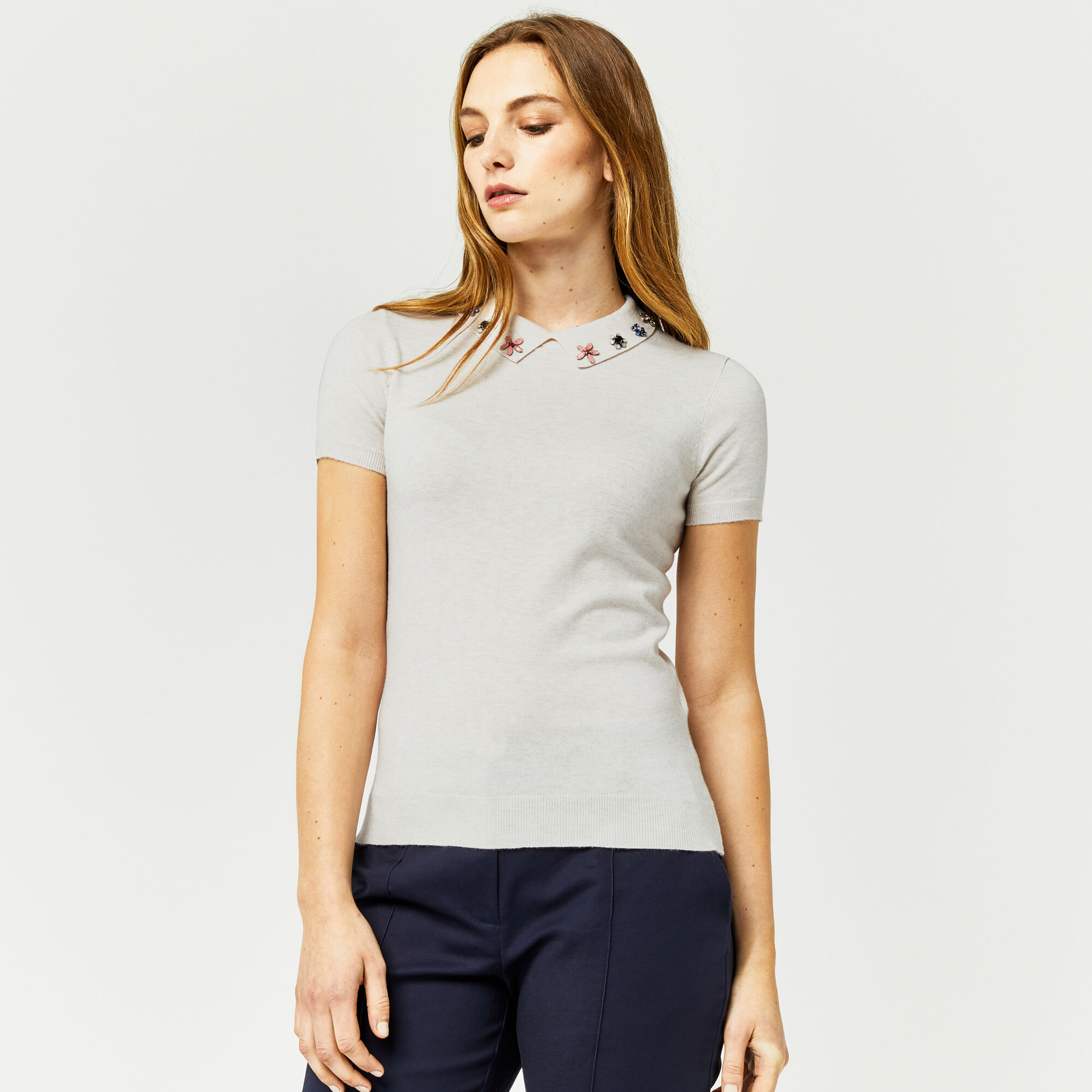 Warehouse, EMBELLISHED COLLAR KNITTED TOP Cream 1