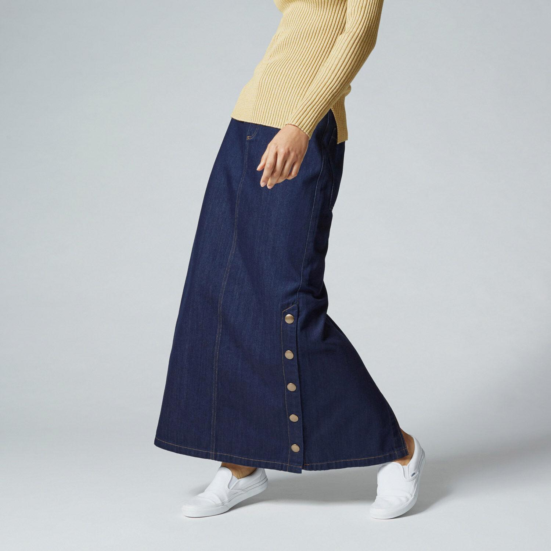 Warehouse, Denim Popper Maxi Skirt Indigo Denim 1