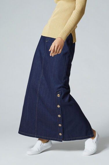 Warehouse, Denim Popper Maxi Skirt Indigo Denim 1