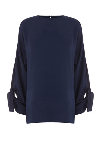 Warehouse, GROSGRAIN TIE SLEEVE TOP Navy 0