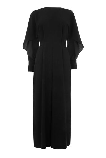 Warehouse, SPLIT SLEEVE WIGGLE JUMPSUIT Black 0