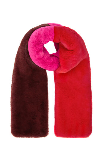 Warehouse, COLOUR BLOCK FAUX FUR SCARF Red Stripe 0