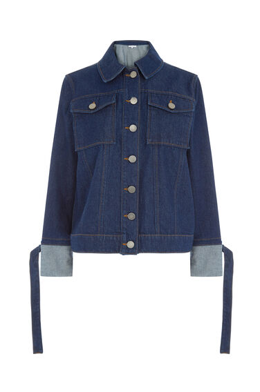 Warehouse, FOLD UP DENIM JACKET Dark Wash Denim 0