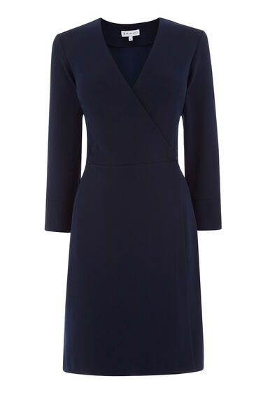Warehouse, CREPE WRAP DRESS Navy 0