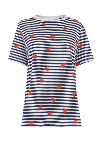 Warehouse, HEART PRINT STRIPE TEE Blue Stripe 0