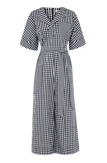 Warehouse, GINGHAM WRAP JUMPSUIT Black 0