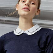 Warehouse, EMBELLISHED COLLAR JUMPER Navy 4