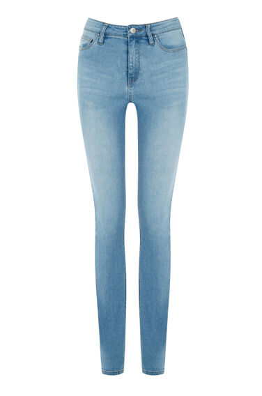 Warehouse, Powerhold Skinny Cut Jeans Light Wash Denim 0