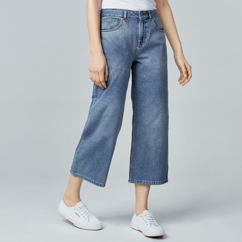 Warehouse, Wide Cut Jeans Mid Wash Denim 1
