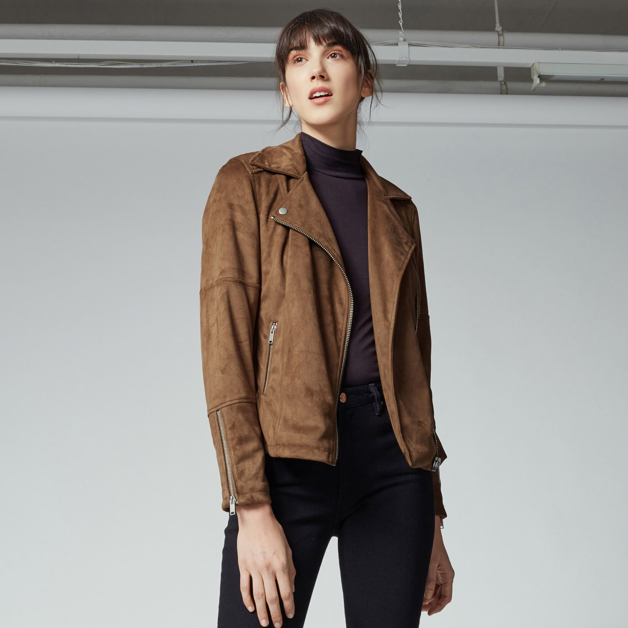 Warehouse, Suedette Biker Jacket Tan 1