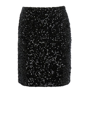 Warehouse, VELVET SEQUIN MINI SKIRT Black 0