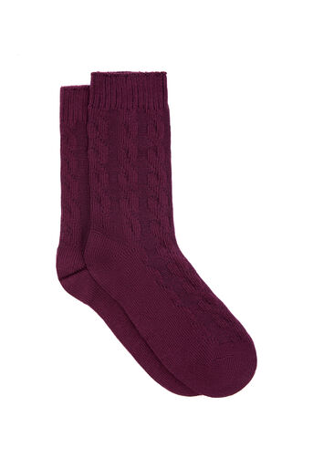 Warehouse, CABLE KNIT SOCK Berry 0