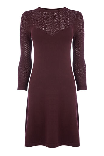 Warehouse, PRETTY STITCH YOKE KNIT DRESS Berry 0