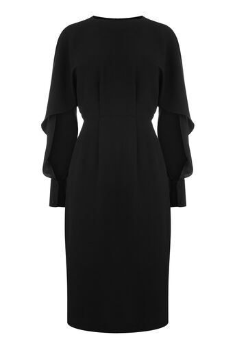 Warehouse, SPLIT SLEEVE WIGGLE DRESS Black 0