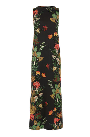 Warehouse, PALM PRINT JUNGLE MIDI DRESS Multi 0