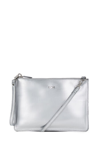 Warehouse, MONOGRAM LEATHER TOP ZIP BAG Silver Colour 0
