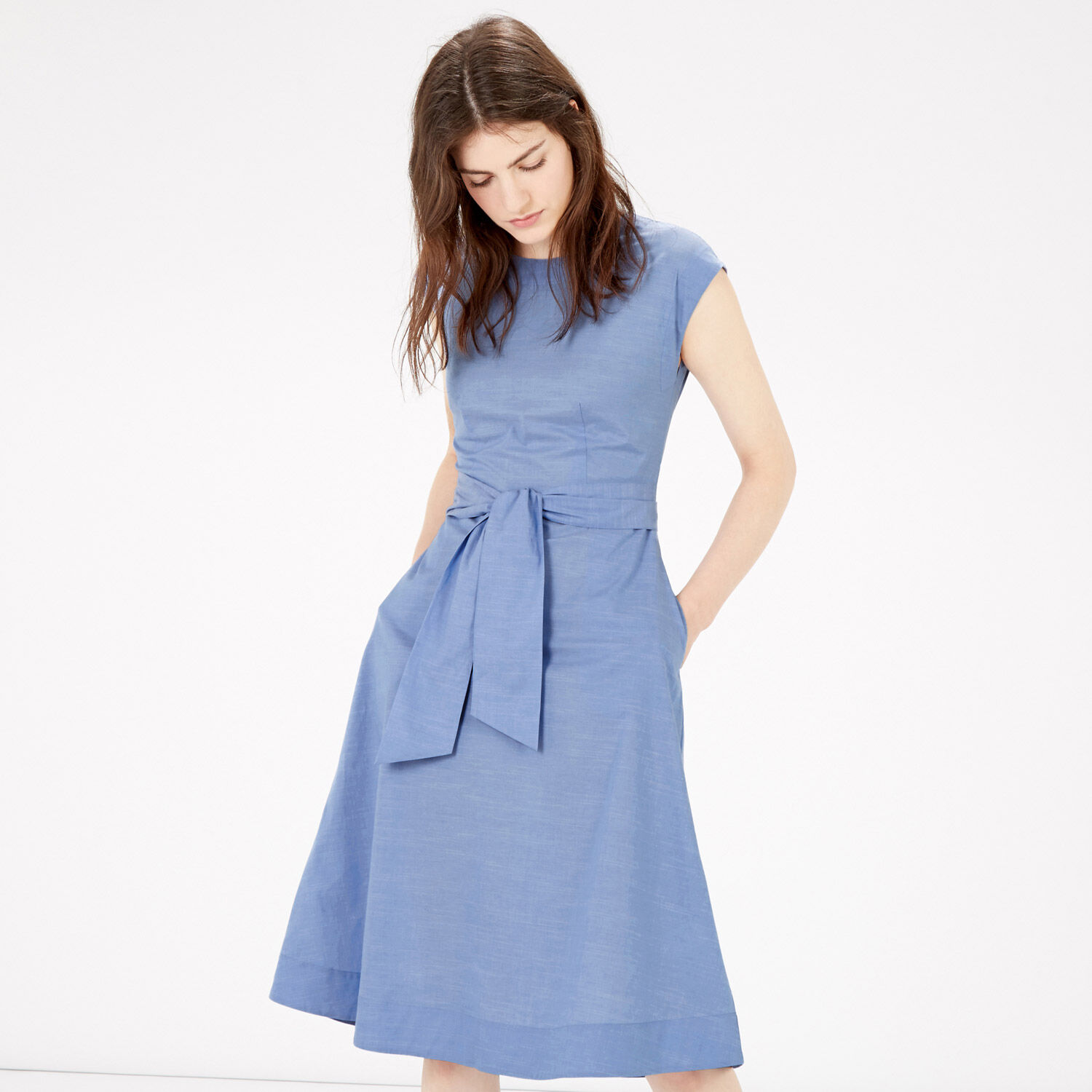 Warehouse, FULL COTTON MIDI DRESS Light Blue 1