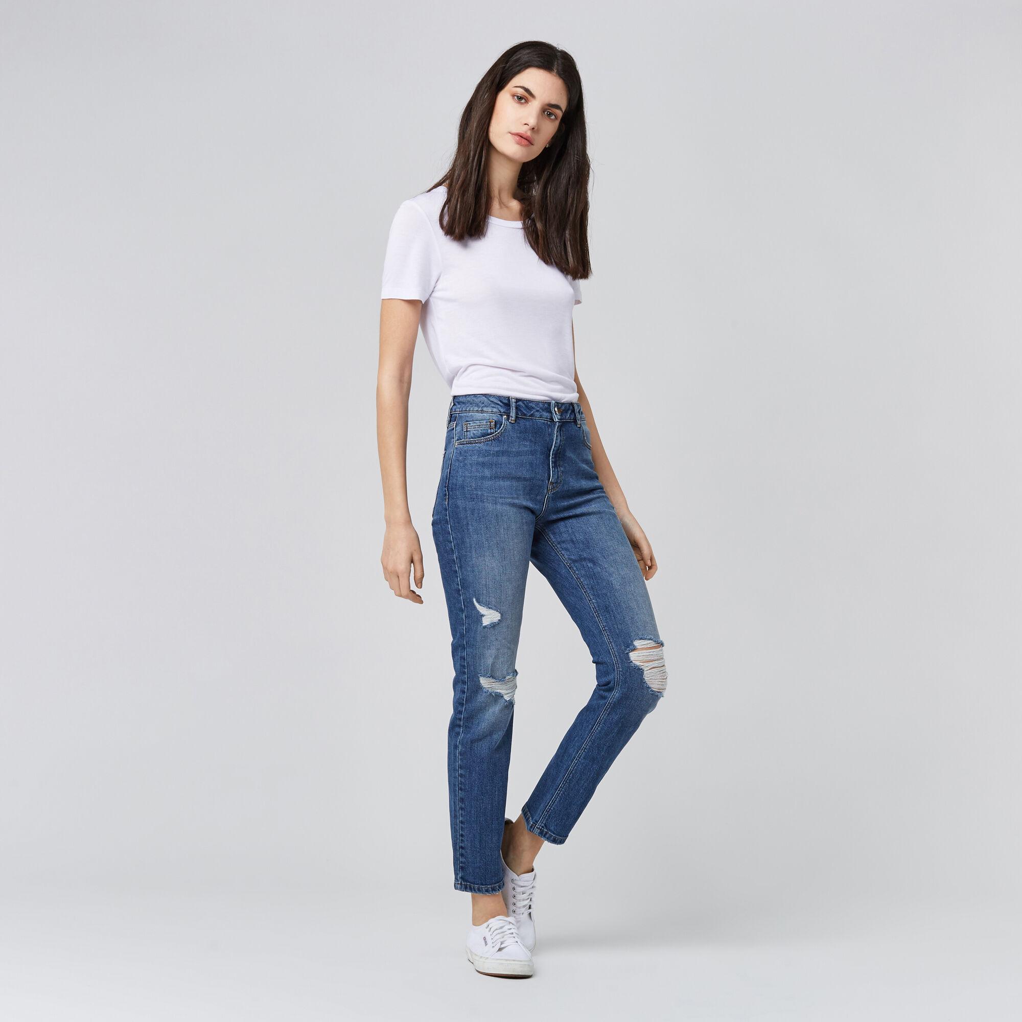 Warehouse, Distressed Straight Cut Jeans Mid Wash Denim 1