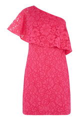 Warehouse, BONDED LACE ONE SHOULDER DRESS Bright Pink 0