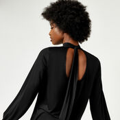 Warehouse, PLEATED HIGH NECK TOP Black 1