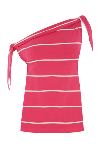 Warehouse, STRIPE TIE SHOULDER TOP Pink Stripe 0