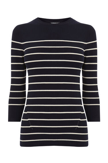 Warehouse, BRETON STRIPE CREW JUMPER Navy 0