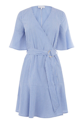 Warehouse, STRIPE FRILL HEM DRESS Blue Stripe 0