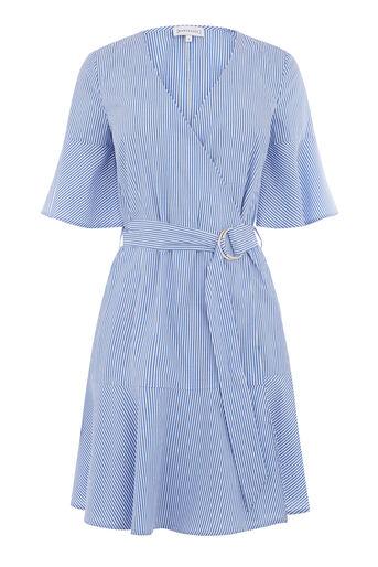 Warehouse, Gestreepte jurk met geruchede zoom Blauw gestreept 0