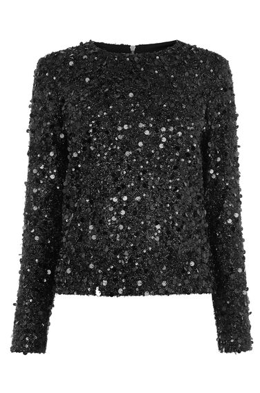 Warehouse, LONG SLEEVE SEQUIN TOP Black 0