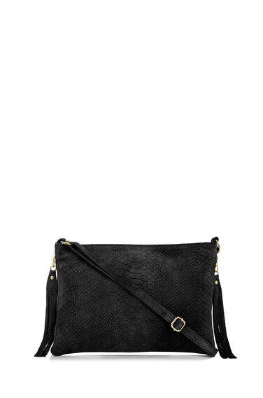 Warehouse, Suede Embossed Croc Cross Body Black 0