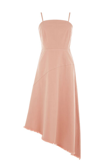 Warehouse, Asymmetric Denim Dress Light Pink 0