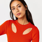 Warehouse, CUT OUT PETAL JUMPER Bright Red 4