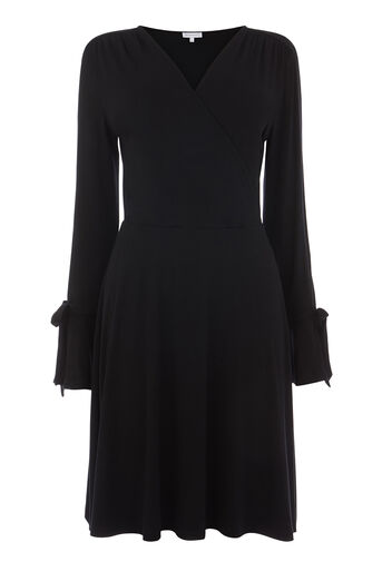 Warehouse, WRAP FRONT FLUTE CUFF DRESS Black 0
