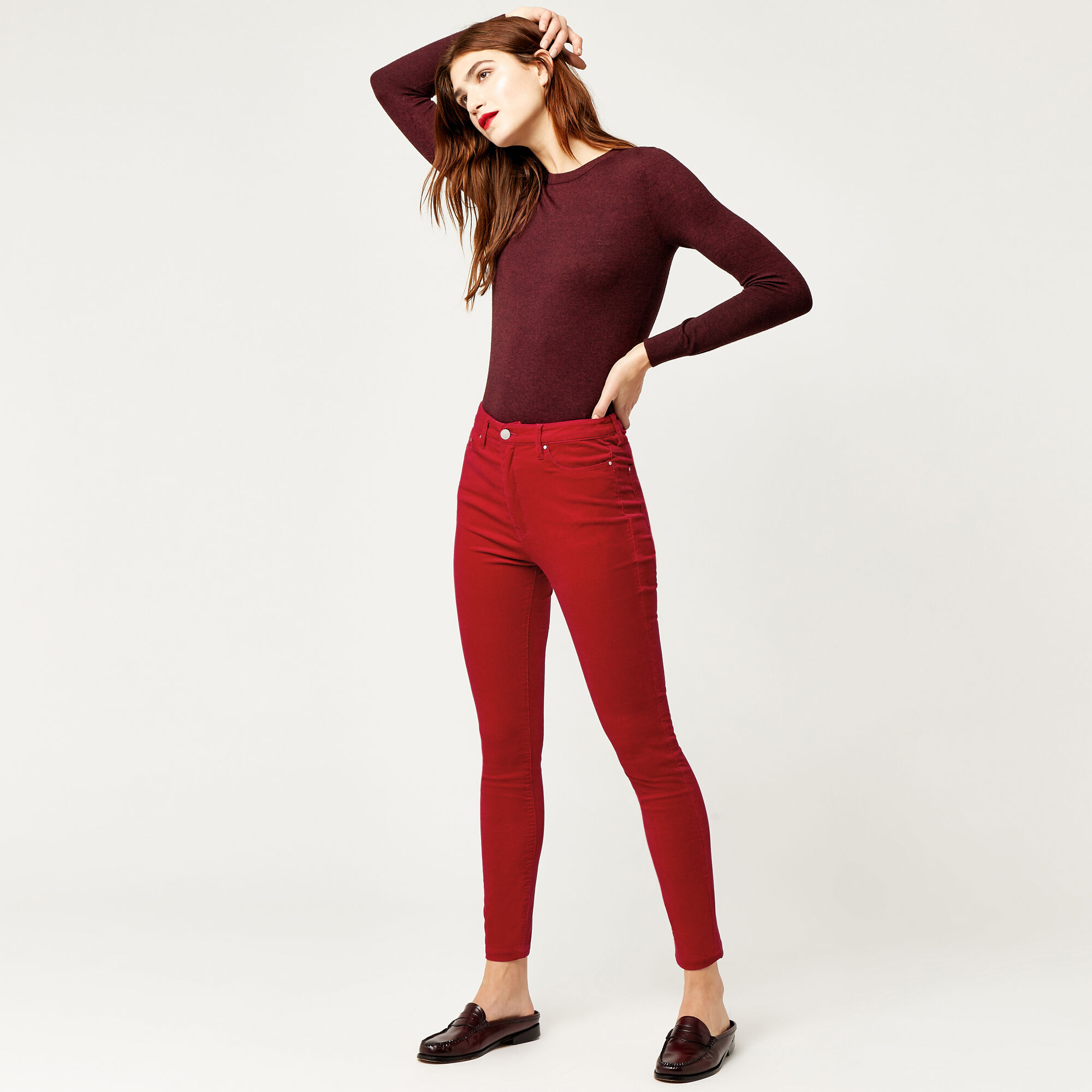 Warehouse, HIGH RISE CORD SKINNY CUT Bright Red 1