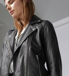 Warehouse, Leather Biker Jacket Black 4