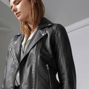 Warehouse, Leather Biker Jacket Black 4