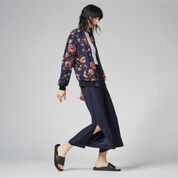 Warehouse, PAINTED FLORAL BOMBER JACKET Blue Pattern 2